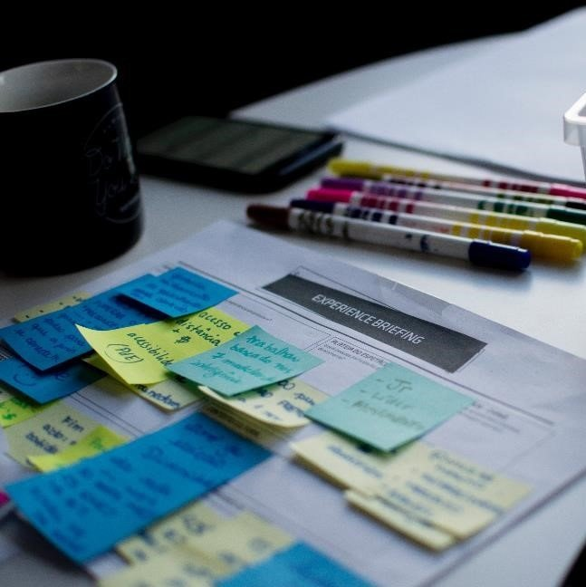 Marketing plan with sticky notes